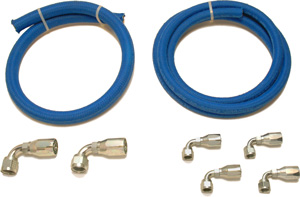 Blue Fiber Braided - Power Steering Hose Kit